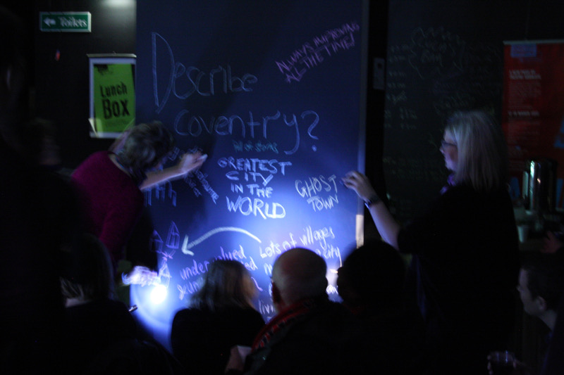 Audience at the Shop Front Theatre describe Coventry. Photo: John Hammersley.